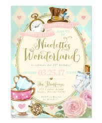 alice in wonderland birthday party invitation girls themed