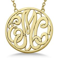 Monogram Pendant Necklace Custom Initial Circle Monogram Pendant Necklace 14k Yellow Gold