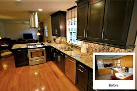 kitchen cabinet refinishing before and after cabinet refacing costs about half of new quality custom cabinetry