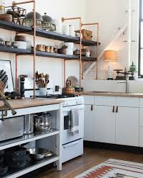 kitchen open shelving ideas copper and wood open shelves are great additions to standard ikea