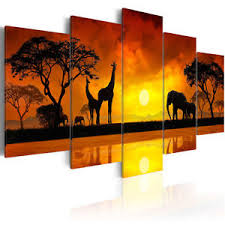 canvas print wall art picture home decor landscape giraffe animal
