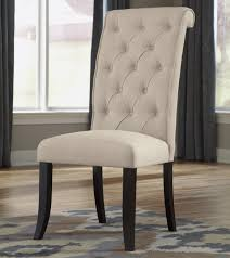Upholstered Linen Dining Chairs Dining Upholstered Side Chair With Button Tufting And Roll Back