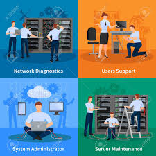 network engineer and it administrator 2x2 design concept set