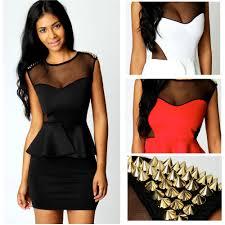 2014 new fashion dress women spike bodycon peplum dress one piece