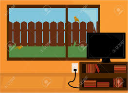 Tv In Front Of Window by Orange Room With A Flatscreen Tv On A Bookshelf In Front Of A
