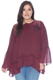 purple blouse plus size plus size bell sleeve lace shoulder peasant blouse tops