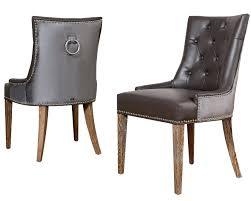 brown tufted leather dining chair washington chairs faux black