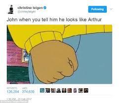 John Legend Meme - chrissy teigen trolls john legend in arthur tweet daily mail