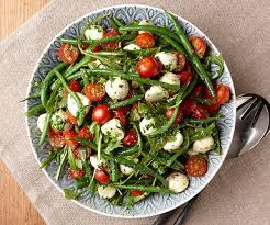 green bean salad with tomatoes arugula u0026 basil dressing finecooking