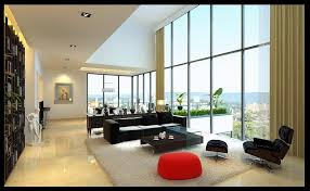 minimalist nice living room small apartment that has grey curtains