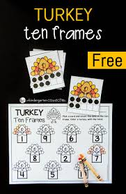 turkey ten frame math game subitizing number recognition and