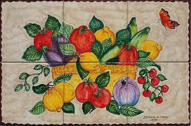 Kitchen Tile Murals Tile Art Backsplashes Italian Fruits U0026 Veggies Handpainted Backsplash Tile Murals Store