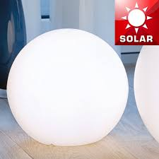 Outdoor Globe Light Globe Solar ø300mm Led Modern White Plastic Outdoor Floor