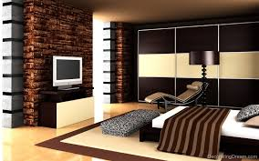 brown wall decoration in nice and cool bedroom design ideas with