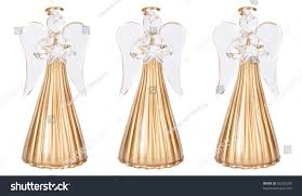 Glass Angels Christmas Decorations by Three Golden Glass Angel Christmas Decorations Stock Photo