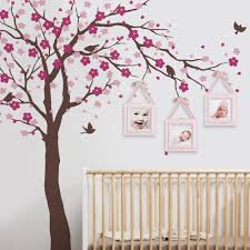 online get cheap cherry blossom tree vinyl wall decal aliexpress cherry blossom tree wall decals baby room nursery large tree with flowers wall stickers for kids