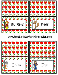 red riding hood free birthday party printables