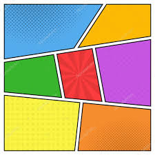 vector colorful template of comic book page with rays stars do