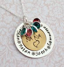 personalized mothers day jewelry sale nana pendant with birthstones family necklace sted
