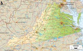 virginia on a map of the usa physical map of virginia ezilon maps