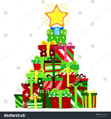 vector illustration christmas gift stack christmas stock vector