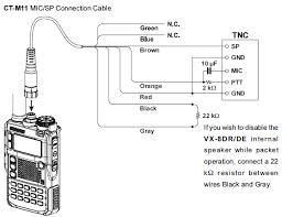 wire diagram of yaesu ct m11 cable connected to yaesu vx 8dr radio