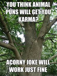 you think animal puns will get you karma acorny joke will work