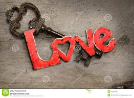key and love letters stock photo image of concrete concept
