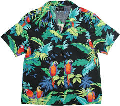 womens parrots black hawaiian shirt