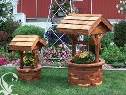 wooden wishing well planter amish furniture crafts garden