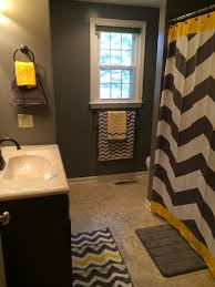 chevron bathroom ideas yellow and gray chevron bathroom accessories thedancingparent