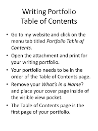 directions for portfolio cover page center in the middle of the