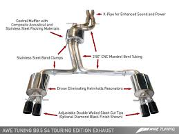 audi s4 exhaust awe tuning b8 5 s4 touring edition exhaust and downpipes