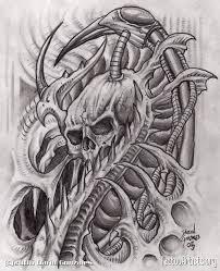biomechanical skull drawings tattooic