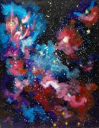 space ice starfield blue and purple art print galaxy painting
