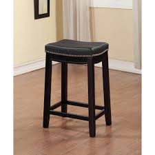 Black Home Decor by Linon Home Decor Claridge 30 In Black Cushioned Bar Stool