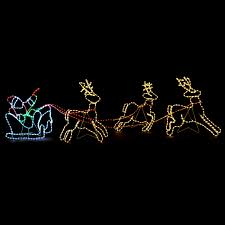 led santa sleigh reindeer silhouette rope light up outdoor wall