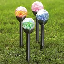 solar globe lights garden stainless solar crackle globe stake light for garden best solar