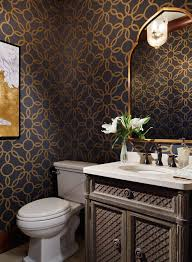 Wallpaper In Bathroom Ideas Bathroom Wallpaper Powder Rooms Bold Bathroom Ideas Gold
