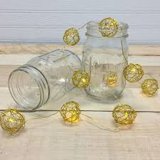 warm white led gold wire sphere string lights battery operated