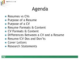 Difference Between Resume And Cv Department Of Mechanical Engineering Ppt Video Online Download
