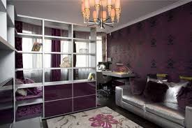 Modern Teenage Bedroom Ideas - wonderful tenn bedroom with chandelier storage partition purple