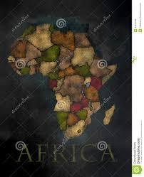 African Continent Map African Continent Map In Colorful Chalkboard Style Stock