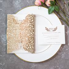 gold wedding invitations gold foil pressed glitter laser cut wedding invitations
