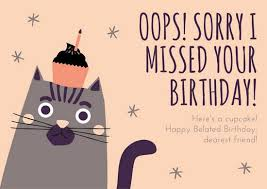 peach and gray illustrated cat belated birthday card templates