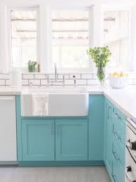 color block a section of your kitchen cupboards for a beautiful