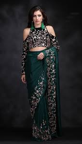 velvet blouse green crepe saree with cold shoulder velvet blouse pink peacock