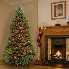 Pre Lit Pre Decorated Christmas Trees 6 5 Foot Dunhill Fir Pre Lit Or Unlit Artificial Hinged Christmas