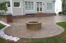 Brushed Concrete Patio Stamped Concrete Patio Firepit And Outdoor Kitchen Otg On