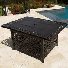 coffee table 48 inch rectangular cast aluminum propane fire pit